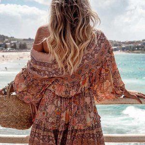 New Boho Summer Floral Gypsy Dress